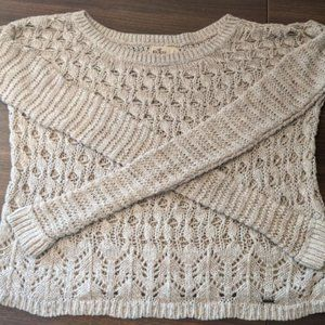 Hollister Long Sleeve Loose Knit Wheat Sweater